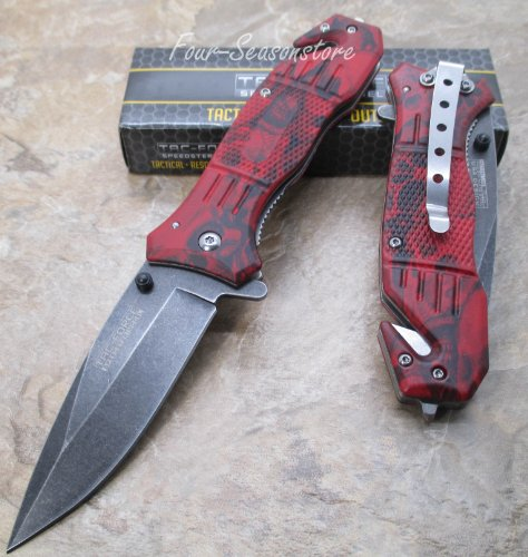Tac Force Assisted Opening Red Skull Camo Knife Design Handle Rescue Folder Stone Wash Finish Stainless Steel Blade Knife-