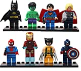 Wemi 8 Pcs Super Hero Avengers Superman Batman Iron Man Hulk Captain America Kids Construction Minifigures Toys