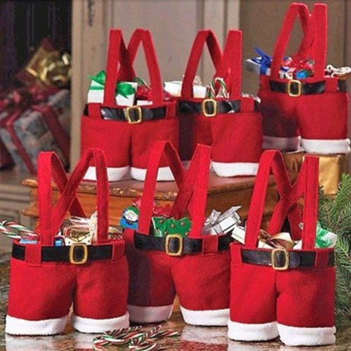 Newest Red 3x Cute Nylon Santa Pants Treat Candy Bags for Christmas Gift