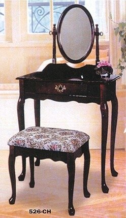 3 Pc Cherry Finish Wood Vanity Set With Vanity Table, Mirror And Bench front-1077729
