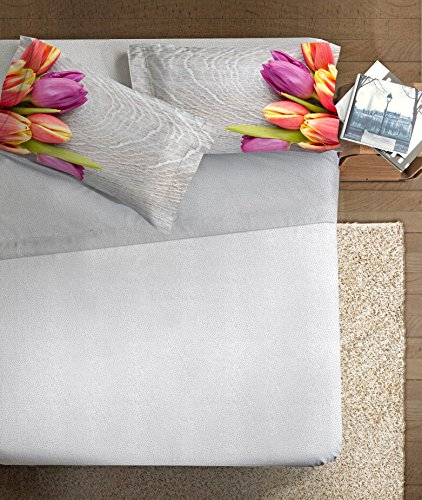 Ipersan Tulipani Completo Fotografico Fine-Art, 100% Cotone, Grigio Federe Multicolore, Matrimoniale, 260x300x1 cm