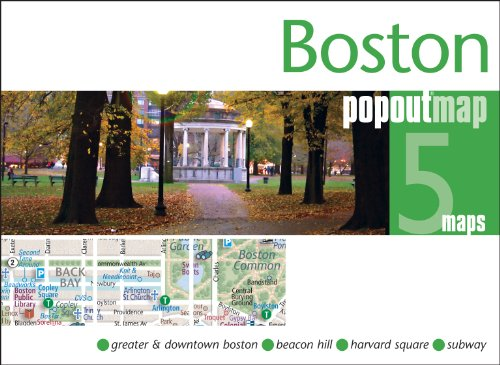 Boston PopOut Map: Pop-up city street map of Boston - folded pocket size travel map with transit map