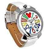 Disney ディズニー ミッキー マルチカラー インデックス 腕時計 ホワイト ベルト × ホワイト 文字盤 ラウンドフェイス クォーツ式 電池式【並行輸入品】[時計]