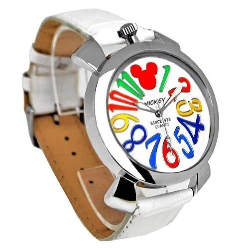 Disney ディズニー ミッキー マルチカラー インデックス 腕時計 ホワイト ベルト × ホワイト 文字盤 ラウンドフェイス クロコ型押し 白 黒 青【並行輸入品】[時計]