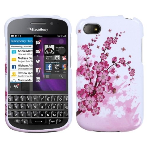 Mybat Bbq10Hpcim025Np Slim And Stylish Snap-On Protective Case For Blackberry Q10 - Retail Packaging - Spring Flowers