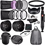 Greens Camera World 67mm 2x Telephoto Lens With Pouch + 67mm Wide Angle Lens + 67mm 3 Piece Filter Set (UV, CPL...