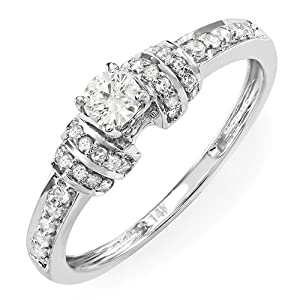 0.45 Carat (ctw) 14k White Gold Round Diamond Ladies Engagement Bridal Promise Ring 1/2 CT (Size 7)