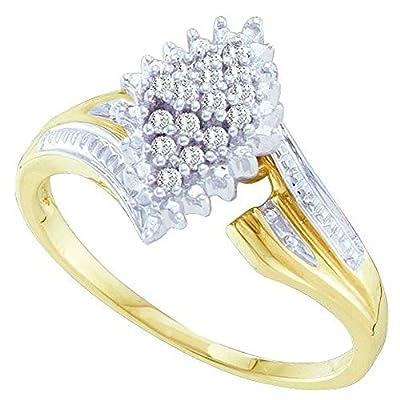 0.12 Carat (ctw) 10K Yellow Gold Round Cut White Diamond Ladies Cluster Engagement Ring