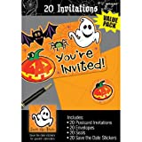"Amscan Family Friendly Halloween Scared Silly Invitations (20 Piece), Orange, 6 1/4"" x 4 1/4"""
