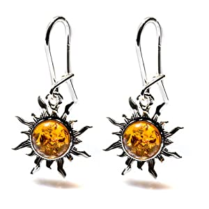 Certified Genuine Amber Sterling Silver Set Romantic Flaming Sun Hook Earrings