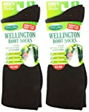 2x Mens UK Size 7-11 David James Wellington Boot Socks Brown