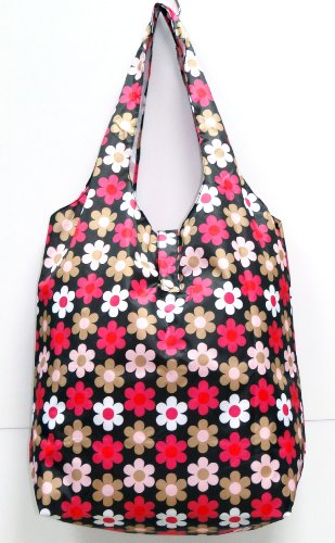 Trendy Sturdy Shopping Tote Bag - Color Flowers Pattern