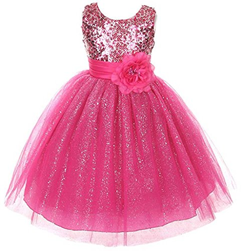 Fuchsia Sleeveless Dress Sequin Adorned Bodice Flowers Girls Dress Pageant 4-12
