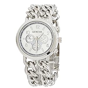 New Womens Cowboy Chain Stainless Steel Watch Band Quartz Wristwatch