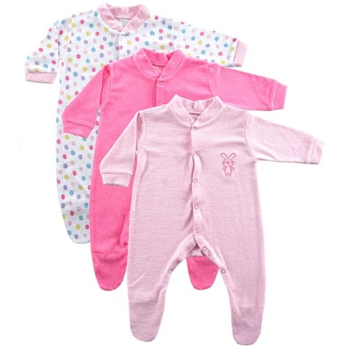 Luvable Friends 3-Pack Terry Sleep N Play, Pink, 0-3 Months front-572413