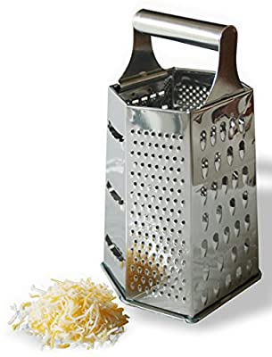 Cheese Grater - 6-sided Stainless Steel Box Grater Kitchen Tool. Fine - Course Surfaces. Hard Cheese, Parmesan, Vegetable, Chocolate, Spices, Fruit, Garlic, and Many Other Foods.