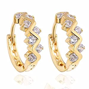Yazilind Gold Plated Hollow Twisted Style Inlay Round Clear Cubic Zirconia Small Hoop Earrings