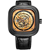 BUREI Men's Stainless Steel Automatic Skeleton Watch with Gold Dial Black...