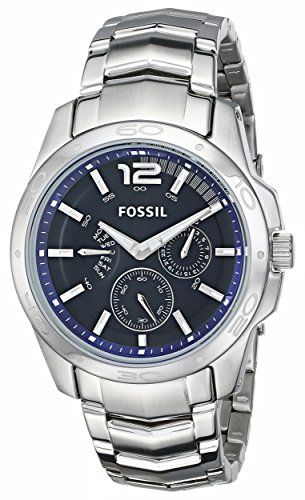 Fossil Men'S Bq9346 Multifunction Stainless Steel Bracelet With Blue Dial