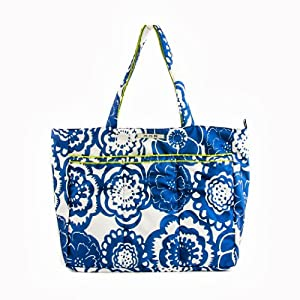 Ju-Ju-Be Super Be Zippered Tote Diaper Bag, Cobalt Blossoms by Ju-Ju-Be