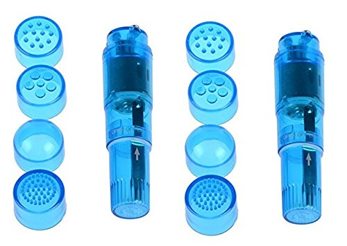 Finever 2PK Blue Pocket Mini Personal Trigger Point Massager Toys Personsal Pleasure Tool Different 4 Heads