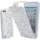 WHITE GLITTER DIAMOND PU LEATHER CASE COVER POUCH FOR APPLE IPHONE 5S By Connect Zone®