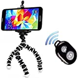 Tripod for iPhone - Peyou® 3 in 1 Octopus Style Portable and Adjustable Tripod Stand + Phone Mount / Holder for iPhone 6s, iPhone 6 Plus, iPhone6, iPhone 5s 5 5c+Bluetooth Wireless Remote Shutter (Black and White)