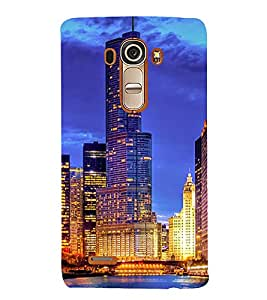 SKYSCRAPERS GLoWING WITH LIGHTS UNDER NIGHT SKY WITH THEIR REFLECTION FALLING IN LAKE WATER 3D Hard Polycarbonate Designer Back Case Cover for LG G4 :: LG G4 H815