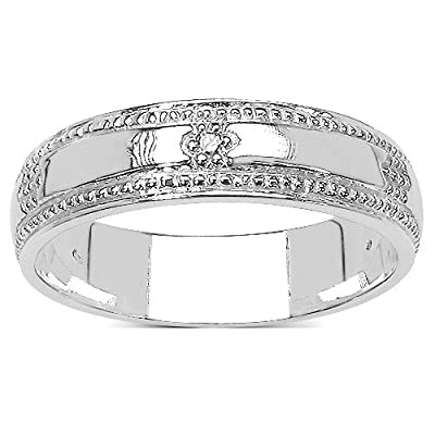 The Truelove Wedding Ring Collection: 6mm Width Diamond Set Wedding Ring in Solid Sterling Silver.