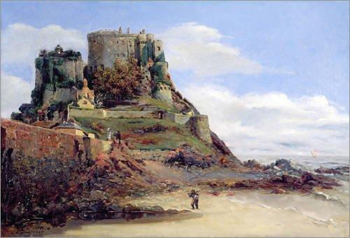 Impression sur verre acrylique 90 x 60 cm: View of Jersey, 1883 de Guillaume Romain Fouace / Bridgeman Images