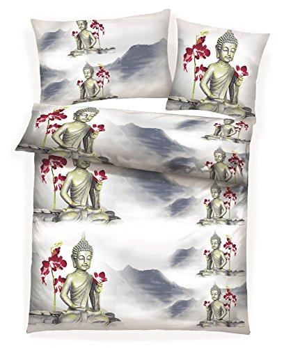 8-tlg-Warme-Microfaser-Fleece-Winter-Bettwsche-135×200-Kuschel-Flausch-Ranke-Fleece-Spannbettlaken-Buddha-Tibet