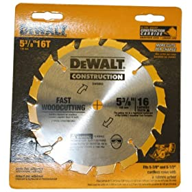 DeWalt DW9055 5-3/8-Inch 16 Tooth Series 20 10 MM Arbor Carbide Circular Saw Blade