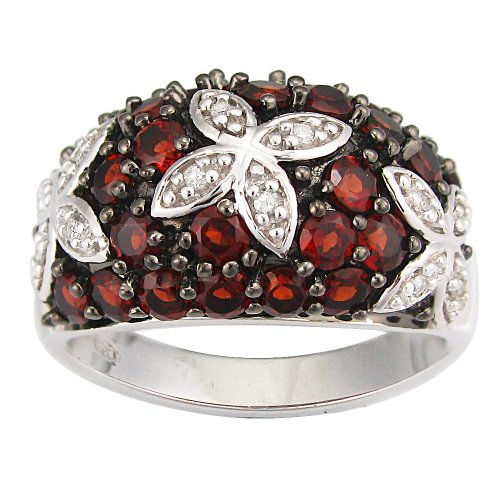 Sterling Silver Garnet and Diamond-Accent Ring (0.05 cttw, I-J Color, I2-I3 Clarity), Size 7