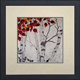 Susho, King Silk Art Handmade Silk Embroidery -Birch Tree with Autumn Leaves - Medium Size 37093WF