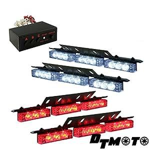 DT MOTO™ Red White 36x LED EMS EMT Emergency Vehicle Deck Dash Grill Strobe Warning Lights - 1 set