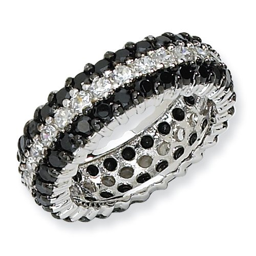 Sterling Silver Black/White CZ Eternity Ring Size 6