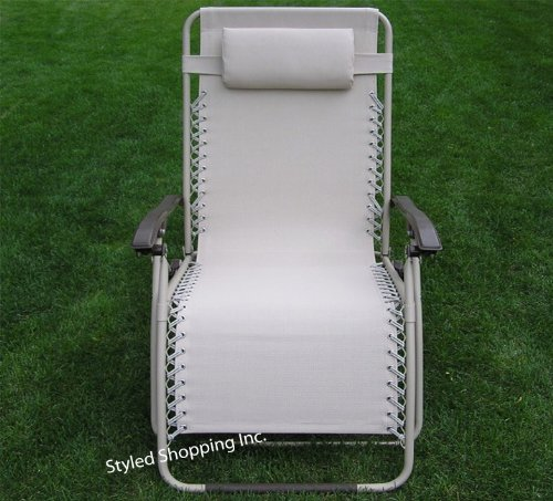 Extra Wide Beige Patio Recliner Folding Lounge Chair