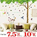 Dago® Extra Huge size 7.4'(H) X 9.7'(W) with 40 Butterflies DIY Fresh Green Leaves & Large Tree Birds Wall Decals Enjoy Easy to Apply Relaxed Removable Wall Stickers for Home, Kids, Living Room
