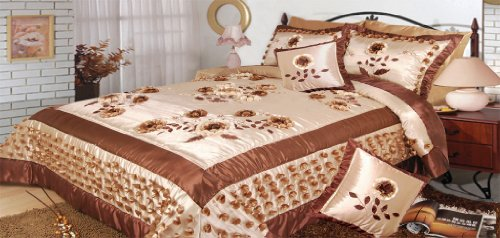 Dada Bedding Bm805 Meadow Of Flower Polyester Patchwork 5-Piece Comforter Set, King, Cream