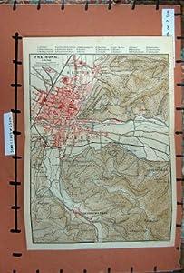 Karte Rhein-strassen-plan 1891 Freiburg Herdern Wiehre