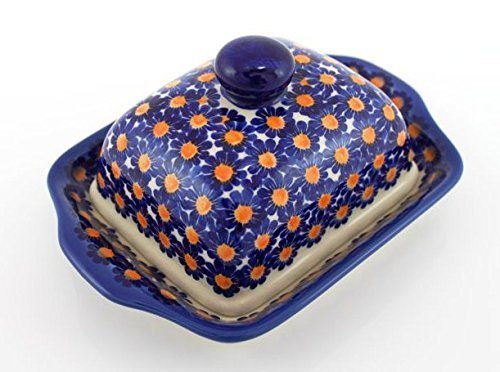 Classic Boleslawiec Hand Painted Stoneware Butter Dish with lid 067-U-002 (Hand Painted Dishes compare prices)