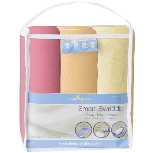Living Textiles Baby Smart Swaddle 3pk Muslin Wrap - Papaya