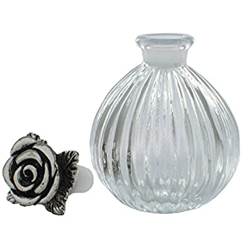 Antiques Glass Perfume Bottles Empty Refillable 6ML Silver Plated Rose