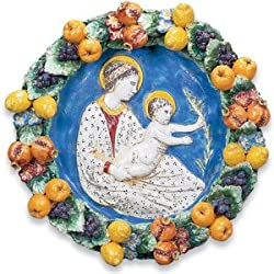 Handmade Toscana Della Robbia with Madonna and Child From Italy