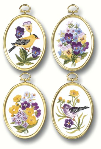"Wildflowers & Finches Embroidery Kit-3-1/4""X4-1/4"" Stitched In Floss"