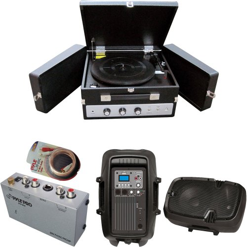 Pyle Turntable Record Player, Pre-Amplifier, Rca Cable And Speaker Package - Plttb8Ui Classical Vinyl Turntable Record Player With Pc Encoding/Ipod Player/Aux Input & Dual Fold-Out Speaker System - Pp444 Ultra Compact Phono Turntable Pre-Amplifier - Pphp8