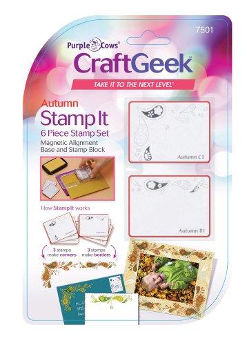 Purple Cows 7501 Craftgeek Stamp It 6-Piece Stamp Set, Autumn Theme, Purple