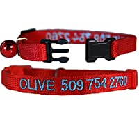 Custom Embroidered Cat Id Collars with Breakaway Safety Release Buckle - Personalized Kitty Collars with Pet Name and Phone number. Adjustable.