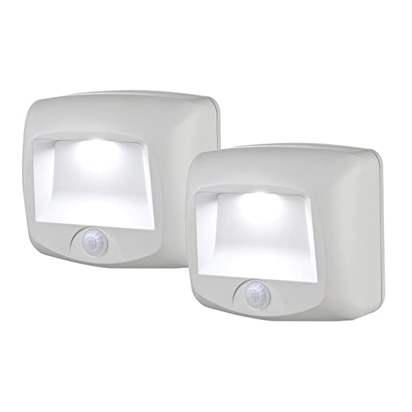 Mr Beams MB532 Wireless Battery-Operated Indoor/Outdoor Motion-Sensing LED Step/Stair Light, 2-Pack, White (Color: White, Tamaño: 2-Pack)