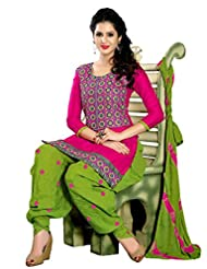 Desi Look Women's Pink Cotton Patiyala Dress Material With Dupatta